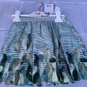 il Gufo Girl Stripe and Floral Skirt